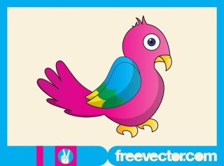 Colorful Bird Character Free Vector