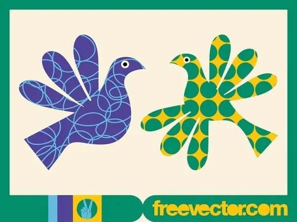 Colorful Birds Free Vector