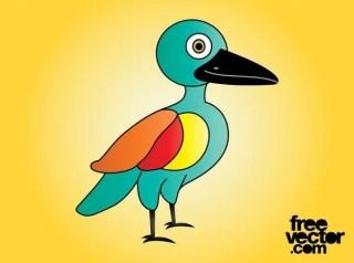 Colorful Cartoon Bird Free Vector