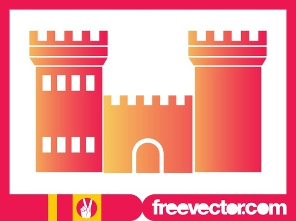 Colorful Castle Silhouette Free Vector