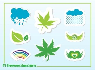 Colorful Nature Stickers Free Vector