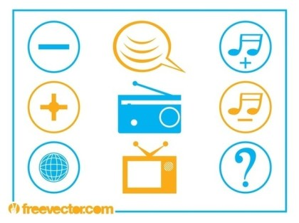 Communication and Tech Icons Free Vector