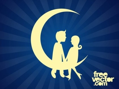 Couple Sitting On Moon Free Vector