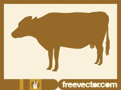 Cow Silhouette Image Free Vector
