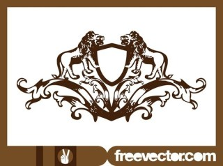 Crest With Lions Free Vector