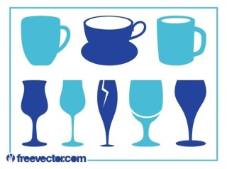 Cups and Glasses Set Free Vector