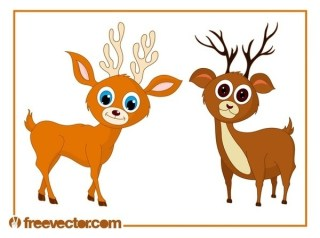 Cute Cartoon Deer Free Vector