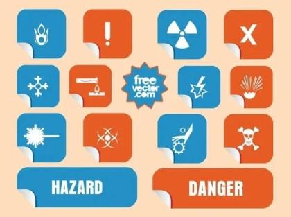 Danger Stickers Free Vector