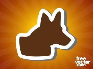 Dog Head Sticker Free Vector