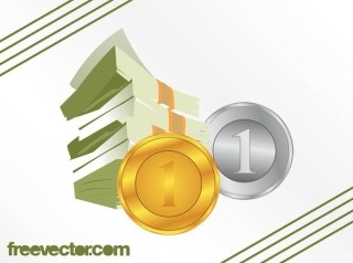 Dollar Bills and Cents Free Vector