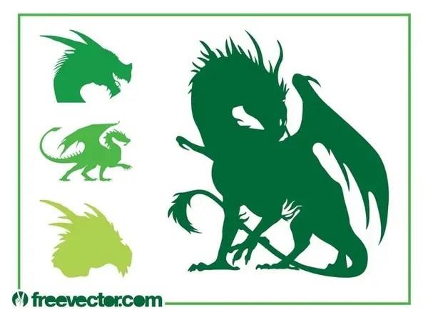 Dragon Silhouettes Set Free Vector