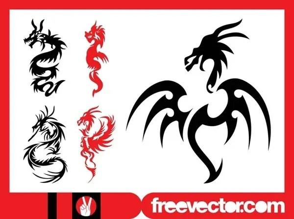 Dragon Tattoos Set Free Vector