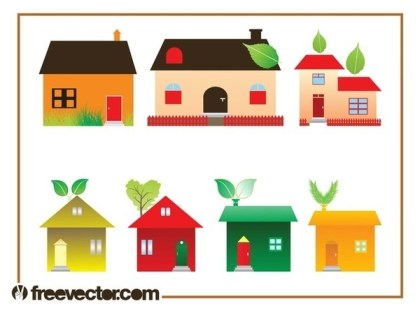 Eco House Set Free Vector