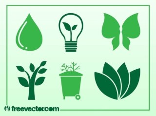 Ecology and Nature Icons Free Vector