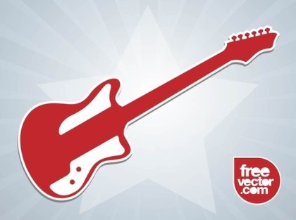 Electric Guitar Sticker Free Vector