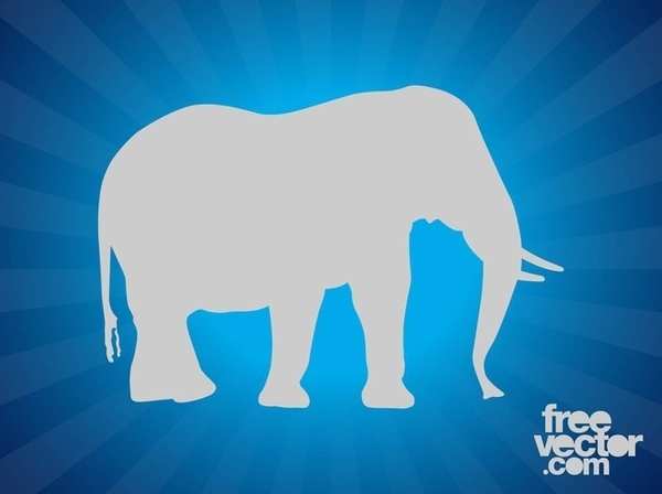 Elephant Silhouette Layout Free Vector
