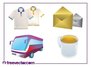 Everyday Objects Set Free Vector