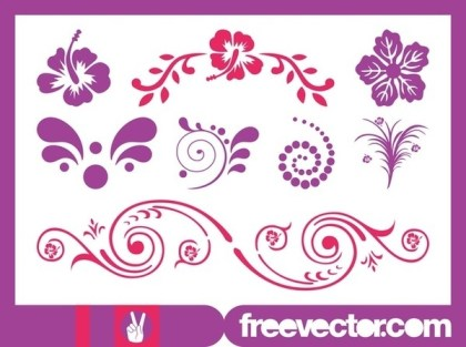 Exotic Flower Scrolls Free Vector