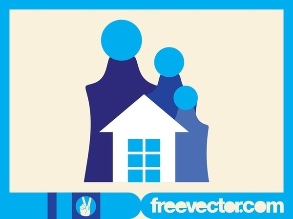 Family and House Free Vector