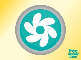 Floral Button Free Vector