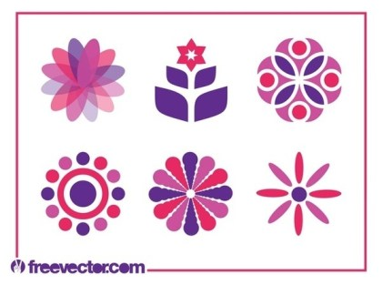 Floral Icon Set Free Vector