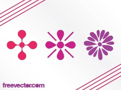 Floral Icons Elements Free Vector
