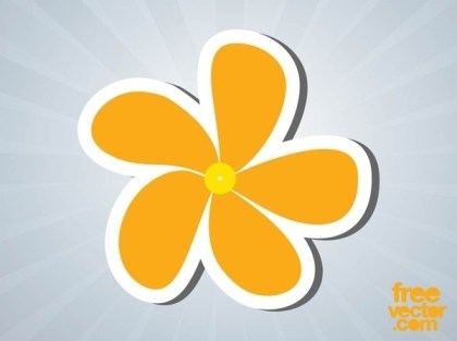 Floral Sticker Free Vector