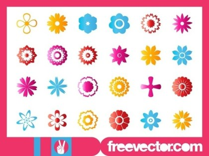 Flower Blossoms Icon Set Free Vector
