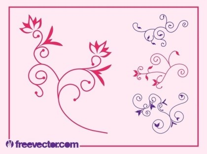 Flower Scrolls Designs Set Free Vector