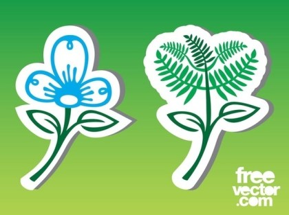 Flower Stickers Free Vector