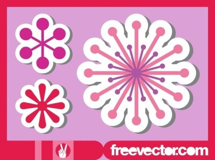 Flower Stickers Set Free Vector