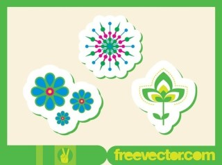 Flowers Stickers Free Vector