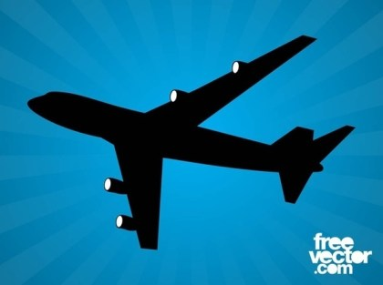 Flying Airplane Silhouette Free Vector