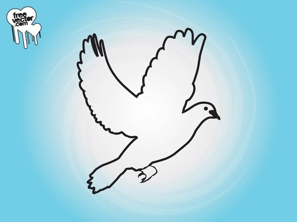 Flying Dove Outlines Free Vector