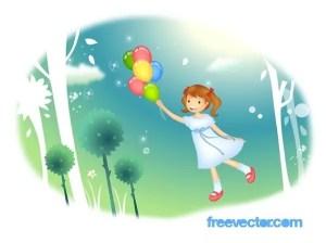 Flying Girl Free Vector