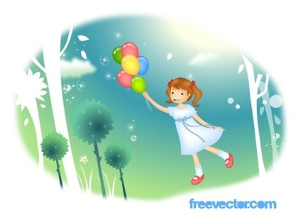 Flying Girl Free Vector