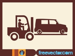 Fork Lift Truck Icon Free Vector