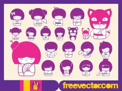 Free Kokeshi s Free Vector