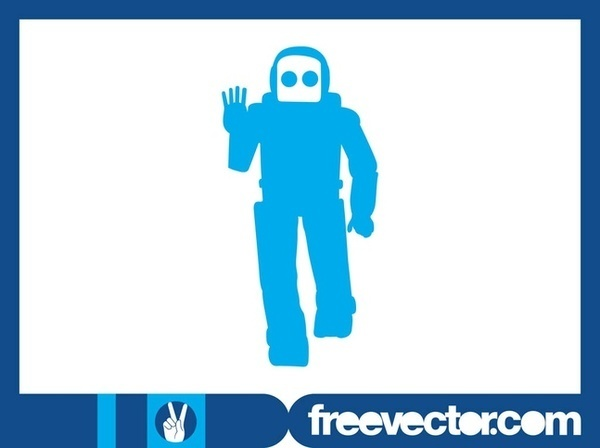 Friendly Robot Silhouette Free Vector