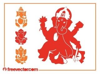 Ganesha Silhouettes Free Vector