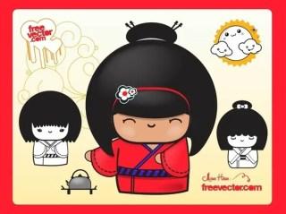 Geisha Dolls Free Vector
