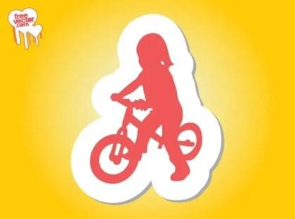 Girl On Bike Silhouette Free Vector