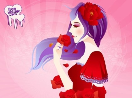 Girl With Roses Free Vector