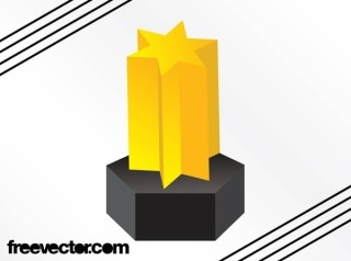 Golden 3D Star Free Vector