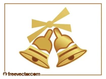 Golden Christmas Bells Free Vector
