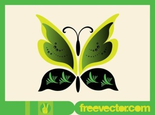 Green Butterfly Free Vector