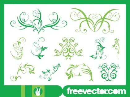 Green Flower Scrolls Free Vector