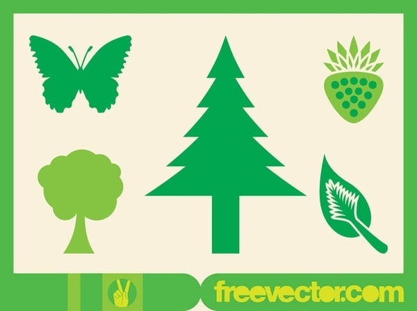 Green Nature Icons Free Vector