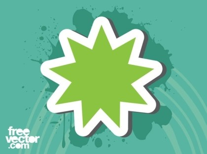 Green Star Sticker Free Vector