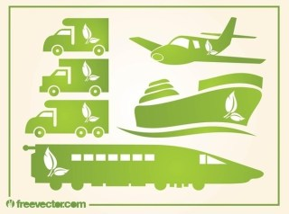 Green Transportation Icons Free Vector